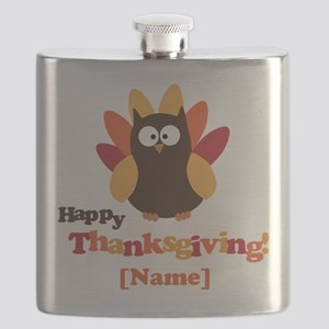 Personalized Happy Thanksgiving Owl Flask