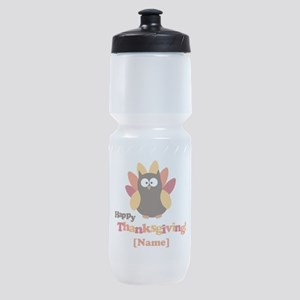 Personalized Happy Thanksgiving Owl Sports Bottle