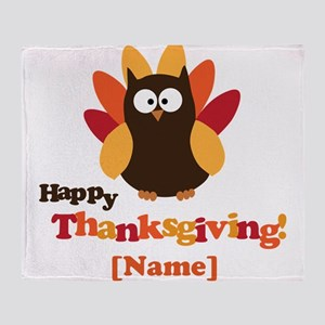 Personalized Happy Thanksgiving Owl Throw Blanket