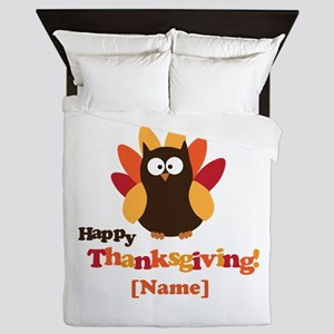 Personalized Happy Thanksgiving Owl Queen Duvet