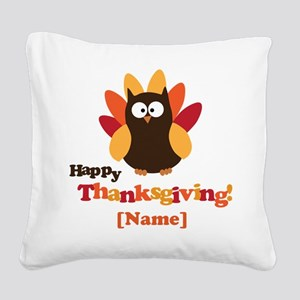 Personalized Happy Thanksgiving Owl Square Canvas