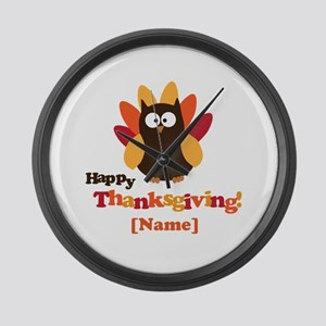 Personalized Happy Thanksgiving Owl Large Wall Clo