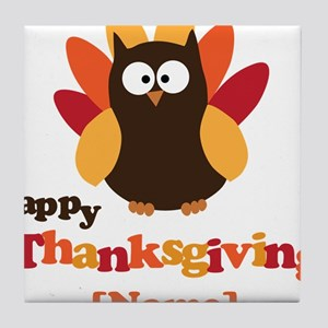 Personalized Happy Thanksgiving Owl Tile Coaster