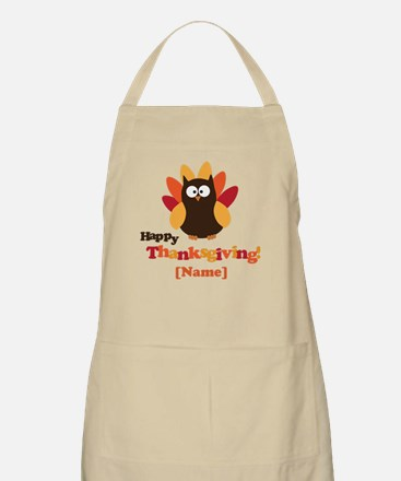 Personalized Happy Thanksgiving Owl Apron