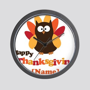Personalized Happy Thanksgiving Owl Wall Clock