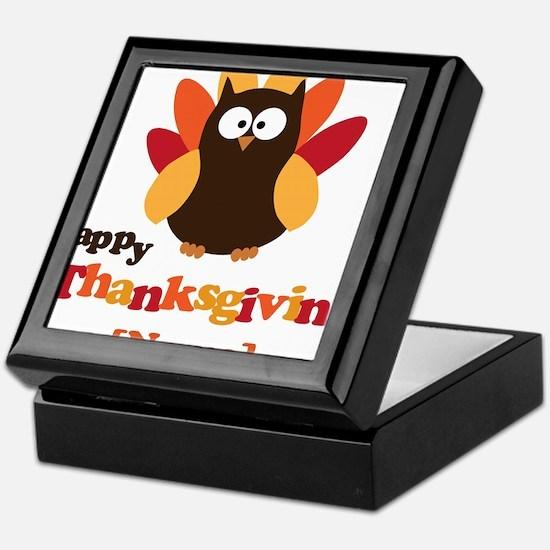 Personalized Happy Thanksgiving Owl Keepsake Box