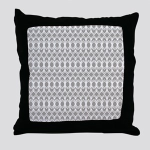 Paloma Gray Diamond Trellis Throw Pillow