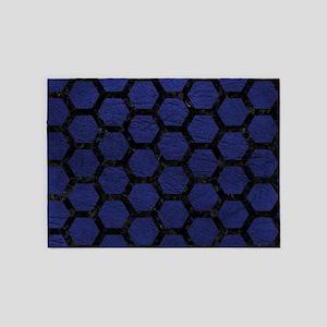 HEXAGON2 BLACK MARBLE & BLUE LEATHE 5'x7'Area Rug