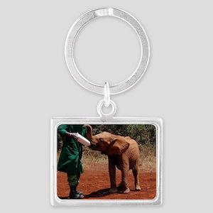 Baby Elephant2 Landscape Keychain