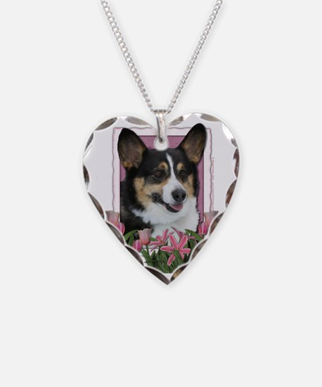 Pink_Tulips_Corgi Necklace Heart Charm