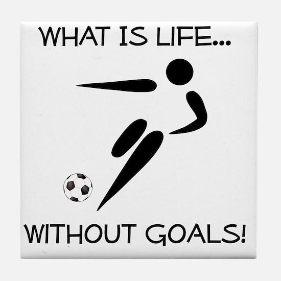 Soccer Goals Black Tile Coaster