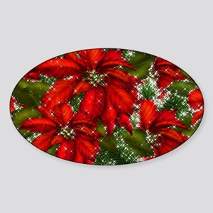 SPARKLING POINSETTIAS Sticker (Oval)