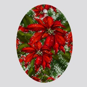 SPARKLING POINSETTIAS Ornament (Oval)
