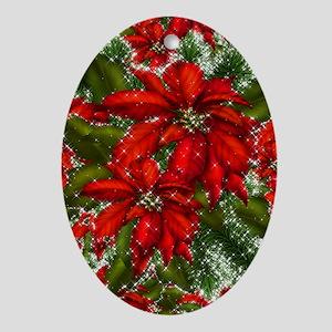 SPARKLING POINSETTIAS Oval Ornament