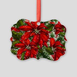 SPARKLING POINSETTIAS Picture Ornament