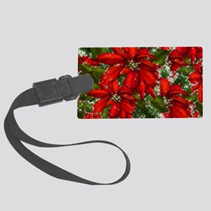 SPARKLING POINSETTIAS Large Luggage Tag