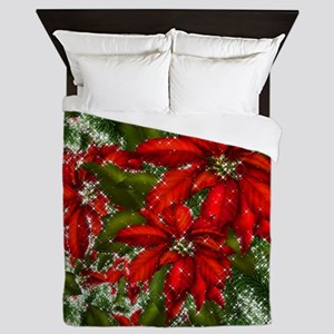 SPARKLING POINSETTIAS Queen Duvet