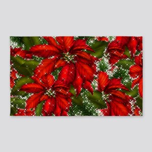 SPARKLING POINSETTIAS Area Rug