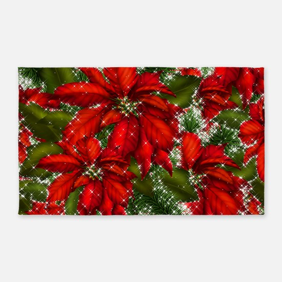 SPARKLING POINSETTIAS 3'x5' Area Rug