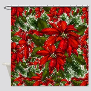 SPARKLING POINSETTIAS Shower Curtain