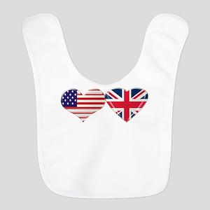 USA And UK Heart Flag Bib