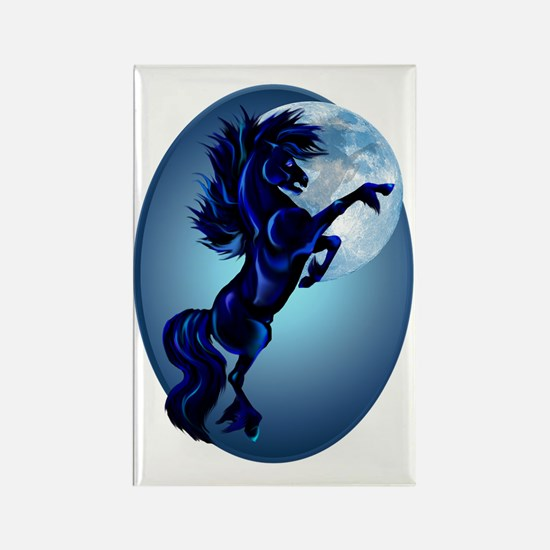 Rearing Stallion and Blue Moon Ov Rectangle Magnet