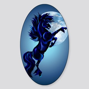 LargePosterRearing Stallion and Blu Sticker (Oval)