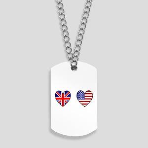 USA / UK Flag Hearts Dog Tags