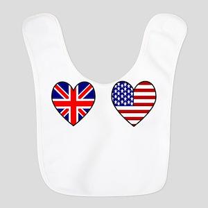USA / UK Flag Hearts Bib