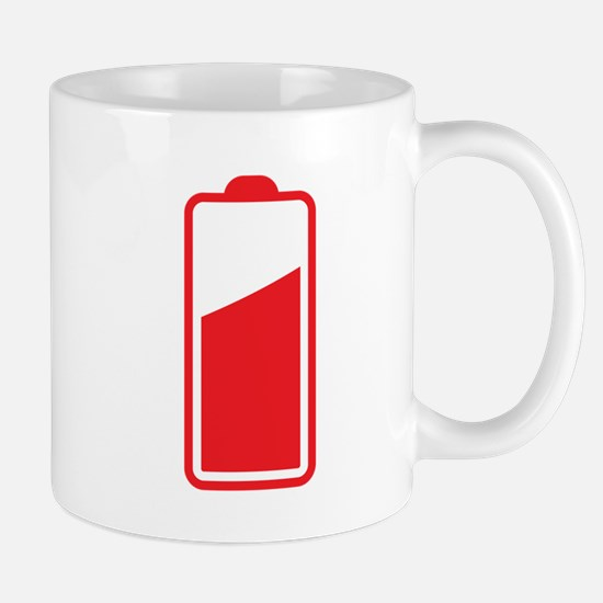 Half Cell phone Battery red Mugs
