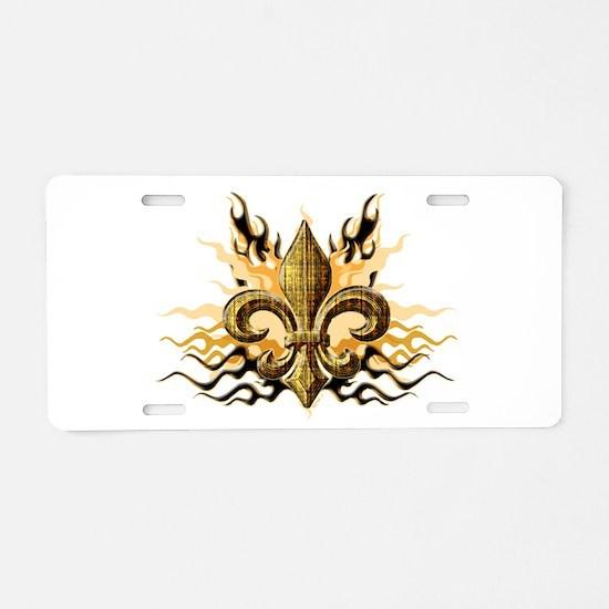 Gold Fleur De Lis Aluminum License Plate