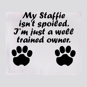 Well Trained Staffie Owner Throw Blanket