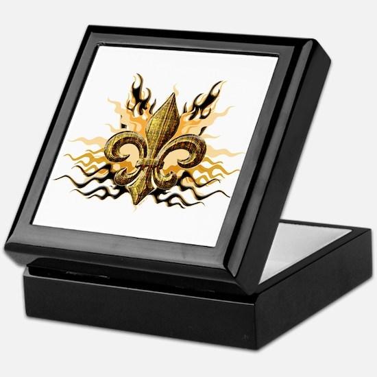 Gold Fleur De Lis Keepsake Box