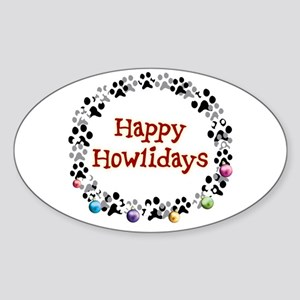 Happy Howlidays Sticker (Oval)