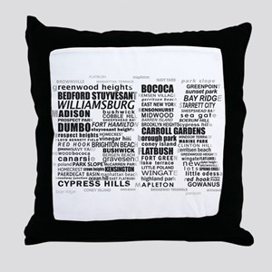 Brooklyn BK Text Art Throw Pillow