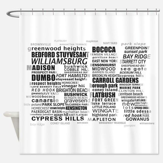 Brooklyn BK Text Art Shower Curtain