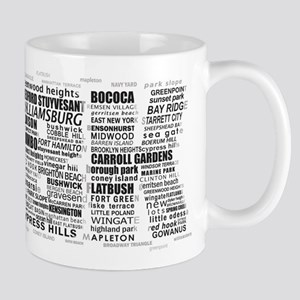 Brooklyn BK Text Art Mugs