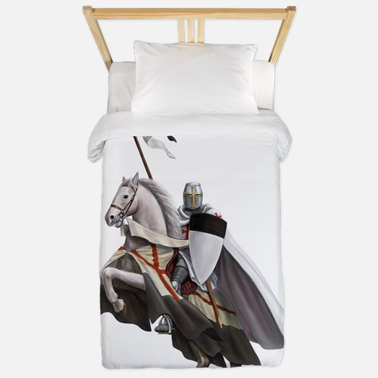 templar on rearing horse coloured digi Twin Duvet