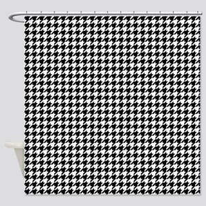 Houndstooth Pattern Black White Shower Curtain