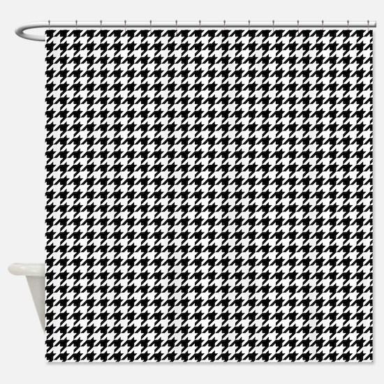 Houndstooth Pattern Black White Shower Curtain