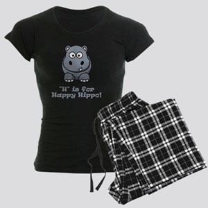 H is for Happy Hippo Grey Women's Dark Pajamas