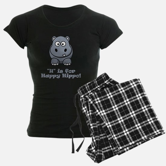 H is for Happy Hippo Grey Pajamas