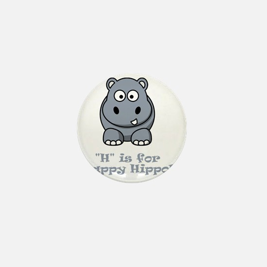 H is for Happy Hippo Grey Mini Button