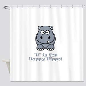 H is for Happy Hippo Grey Shower Curtain