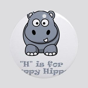 H is for Happy Hippo Grey Round Ornament