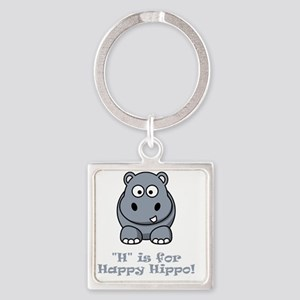 H is for Happy Hippo Grey Square Keychain
