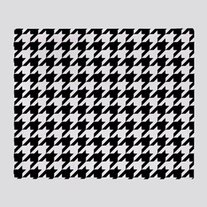 Houndstooth Pattern Black White Throw Blanket