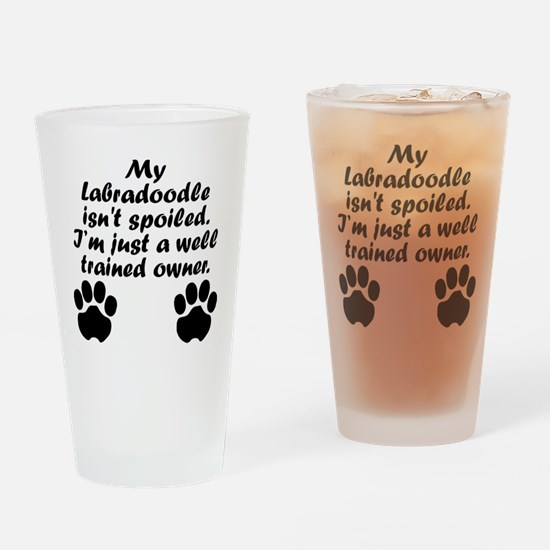 Well Trained Labradoodle Owner Drinking Glass
