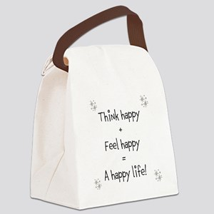Think happy, Feel happy Quotation Canvas Lunch Bag