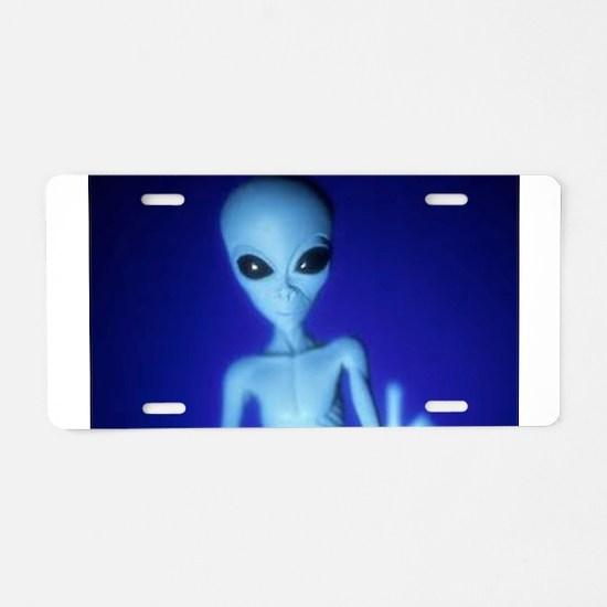 The Blue Alien Aluminum License Plate